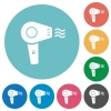 Hairdryer with propeller flat white icons on round color backgrounds