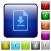 Download file color square buttons - Download file icons in rounded square color glossy button set