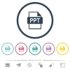PPT file format flat color icons in round outlines. 6 bonus icons included. - PPT file format flat color icons in round outlines