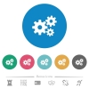 Gears flat round icons - Gears flat white icons on round color backgrounds. 6 bonus icons included.