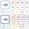 Keyboard tab color flat icons in rounded square frames. Thin and thick versions included. - Keyboard tab outlined flat color icons