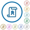 Scroll with certificate icons with shadows and outlines - Scroll with certificate flat color vector icons with shadows in round outlines on white background