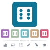 Dice six flat icons on color rounded square backgrounds - Dice six white flat icons on color rounded square backgrounds. 6 bonus icons included