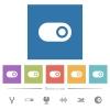 Single horizontal toggle flat white icons in square backgrounds - Single horizontal toggle flat white icons in square backgrounds. 6 bonus icons included.