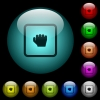 Grab object icons in color illuminated glass buttons - Grab object icons in color illuminated spherical glass buttons on black background. Can be used to black or dark templates