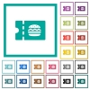 Fast food restaurant discount coupon flat color icons with quadrant frames - Fast food restaurant discount coupon flat color icons with quadrant frames on white background
