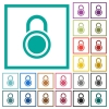 Locked round padlock flat color icons with quadrant frames - Locked round padlock flat color icons with quadrant frames on white background
