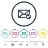 Mail read flat color icons in round outlines. 6 bonus icons included. - Mail read flat color icons in round outlines