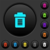 Full trash dark push buttons with color icons - Full trash dark push buttons with vivid color icons on dark grey background