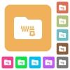 Zipped folder rounded square flat icons - Zipped folder flat icons on rounded square vivid color backgrounds.