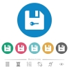 Encrypt file flat round icons - Encrypt file flat white icons on round color backgrounds. 6 bonus icons included.