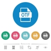 OTF file format flat round icons - OTF file format flat white icons on round color backgrounds. 6 bonus icons included.