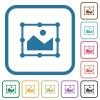 Image free transform simple icons - Image free transform simple icons in color rounded square frames on white background