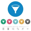Funnel flat round icons - Funnel flat white icons on round color backgrounds. 6 bonus icons included.
