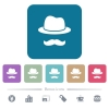 Incognito with mustache flat icons on color rounded square backgrounds - Incognito with mustache white flat icons on color rounded square backgrounds. 6 bonus icons included