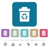 Recycle bin flat icons on color rounded square backgrounds - Recycle bin white flat icons on color rounded square backgrounds. 6 bonus icons included