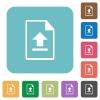 Upload file rounded square flat icons - Upload file white flat icons on color rounded square backgrounds