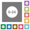 24 hours sticker flat icons on simple color square backgrounds - 24 hours sticker square flat icons