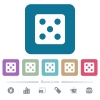 Dice five flat icons on color rounded square backgrounds - Dice five white flat icons on color rounded square backgrounds. 6 bonus icons included