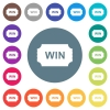 Winner ticket flat white icons on round color backgrounds - Winner ticket flat white icons on round color backgrounds. 17 background color variations are included.