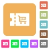 Cart discount coupon rounded square flat icons - Cart discount coupon flat icons on rounded square vivid color backgrounds.