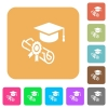 Graduation ceremony rounded square flat icons - Graduation ceremony flat icons on rounded square vivid color backgrounds.