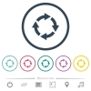 Rotate right flat color icons in round outlines - Rotate right flat color icons in round outlines. 6 bonus icons included.