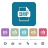 BMP file format flat icons on color rounded square backgrounds - BMP file format white flat icons on color rounded square backgrounds. 6 bonus icons included