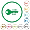512 bit rsa encryption flat icons with outlines - 512 bit rsa encryption flat color icons in round outlines on white background