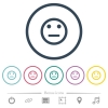Neutral emoticon flat color icons in round outlines. 6 bonus icons included. - Neutral emoticon flat color icons in round outlines