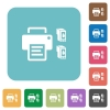 Printer and ink cartridges rounded square flat icons - Printer and ink cartridges white flat icons on color rounded square backgrounds