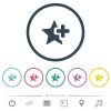 Add star flat color icons in round outlines - Add star flat color icons in round outlines. 6 bonus icons included.