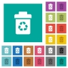 Recycle bin square flat multi colored icons - Recycle bin multi colored flat icons on plain square backgrounds. Included white and darker icon variations for hover or active effects.
