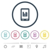Mobile save data flat color icons in round outlines. 6 bonus icons included. - Mobile save data flat color icons in round outlines