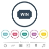 Winner ticket flat color icons in round outlines - Winner ticket flat color icons in round outlines. 6 bonus icons included.