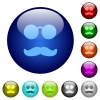 Glasses and mustache color glass buttons - Glasses and mustache icons on round color glass buttons