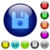 Certificate file color glass buttons - Certificate file icons on round color glass buttons