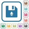 Voice file simple icons - Voice file simple icons in color rounded square frames on white background