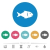 Fish flat round icons - Fish flat white icons on round color backgrounds. 6 bonus icons included.