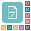 Edit document rounded square flat icons - Edit document white flat icons on color rounded square backgrounds