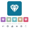 Diamond flat icons on color rounded square backgrounds - Diamond white flat icons on color rounded square backgrounds. 6 bonus icons included