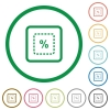 Scale object by percent flat icons with outlines - Scale object by percent flat color icons in round outlines on white background
