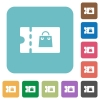 Bag discount coupon rounded square flat icons - Bag discount coupon white flat icons on color rounded square backgrounds