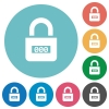 Locked combination lock with center numbers flat round icons - Locked combination lock with center numbers flat white icons on round color backgrounds