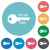 512 bit rsa encryption flat round icons - 512 bit rsa encryption flat white icons on round color backgrounds
