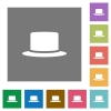 Silk hat flat icons on simple color square backgrounds - Silk hat square flat icons