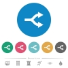 Split arrows flat round icons - Split arrows flat white icons on round color backgrounds. 6 bonus icons included.