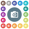 Monochrome photos flat white icons on round color backgrounds - Monochrome photos flat white icons on round color backgrounds. 17 background color variations are included.
