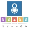 Locked round combination lock flat white icons in square backgrounds - Locked round combination lock flat white icons in square backgrounds. 6 bonus icons included.