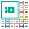 Camping discount coupon flat color icons with quadrant frames - Camping discount coupon flat color icons with quadrant frames on white background